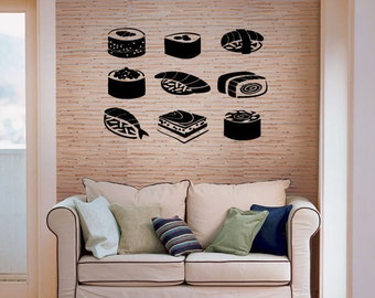 Sushi Roll Handroll Nagiri Phily Roll Sashimi Fish Sushiman Restaurant Tobi Umaki Japanese Cuisine Chopsticks Wall Sticker Decal Art 3599