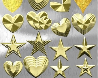 Gold Clipart Digital Gold Heart Clipart Gold Star Clip Art Glittery Shiny Golden Heart Star Clipart Gold Stars Hearts Graphic Image Set Pack