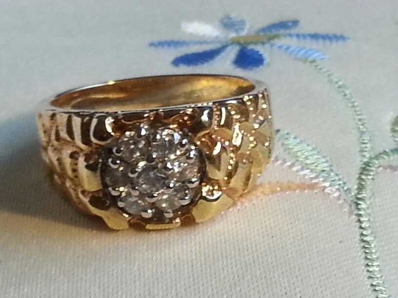 gold nugget ring w diamonds sz 12 5 gold filled nugget with
