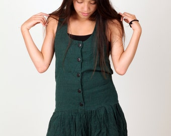 Dark Green Gingham Dress with Tie Back