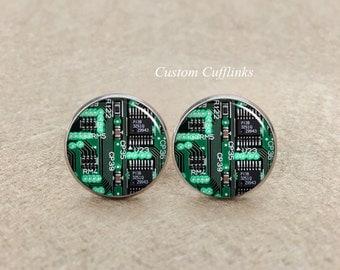 Circuit board Cuff links, circuit cufflinks, custom green circuit board cufflinks,computer circuit, computer cufflinks, Electronics Engineer