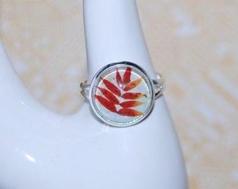 Adjustable ring - autumn leaf Red