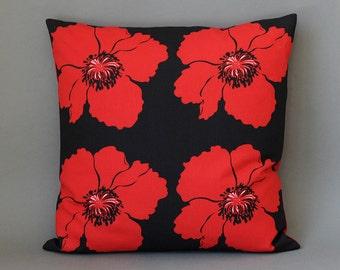 Cushion cover Cotton carrot black red 40X40cm poppy