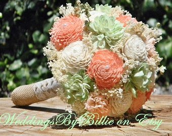 Sola Peridot Mint Peach Bouquet, Burlap Lace, Sola Bouquet, Alternative Bouquet,Rustic Shabby Chic,Bridal Accessories, Keepsake, Mint Peach