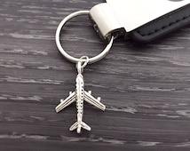 Airplane Keychain, Silver Airplane Keyring, Long Distance Friend Gift, Airplane Travel Pilot Jewelry, Custom Keychain, Aviation Keychain
