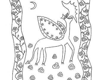 """Printable colouring page / black and white illustration. """"The Dragon in the Rose Garden"""""""