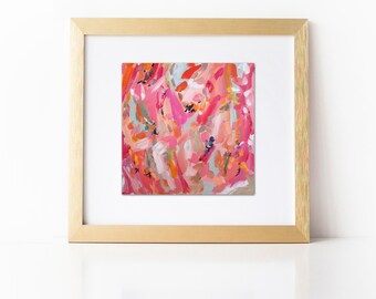 Abstract Painting Print, Abstract Art on Paper, Pink Coral Print, Large Art Print, Bright Art Pink Artwork Abstract Print