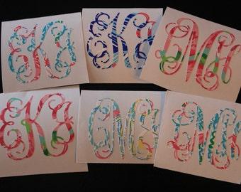 Lilly Pulitzer Inspired Vine Monogram Sticker