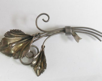 Vintage Coro Sterling Silver Calla Lily Bouquet Flower Brooch Circa 1940s Large - SALE