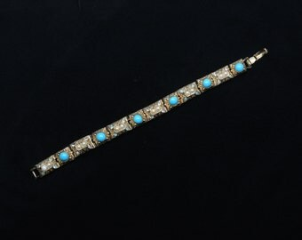 1940's-50's ART Brand Renaissance Style Bracelet, Bright Gold Tone Links, Faux Pearls, Faux Turq. Cabochons, Clear & Blue Crystals