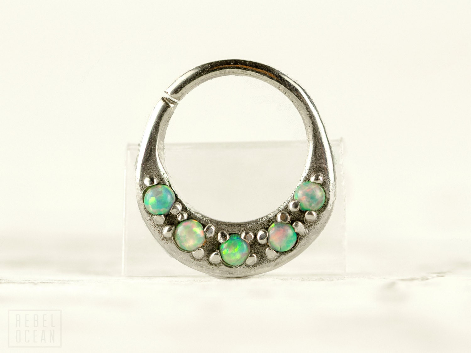 septum ring nose ring septum jewelry light turquoise opal