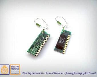Geek earrings - Upcycled electronics - eco friendly earrings - eWaste earrings - Reused RAM earrings - sustainable jewelry Eco friendly gift