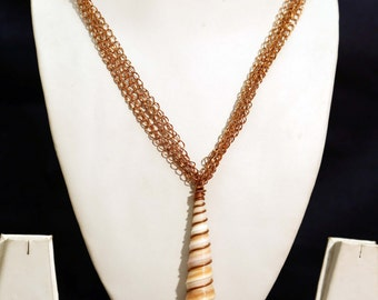 Captivating Shell And Copper Chain Handmade Statement Necklace