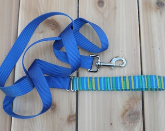Dog Leash/Lead - Blue Stripes - Blue, Green, Yellow - Male Dog Leash