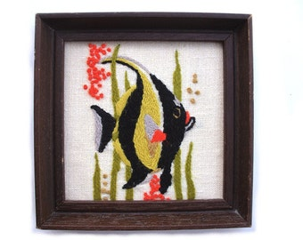 Vintage angelfish embroidery, ocean sea life artwork, aquarium art, tropical fish nursery decor, framed crewel needlework, yellow black fish