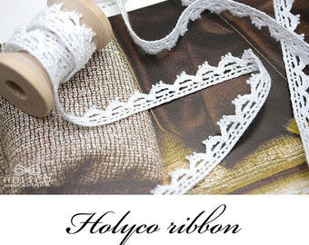"""White Torchon Lace / 3/8""""(10mm) / 100% Cotton / made in Korea"""