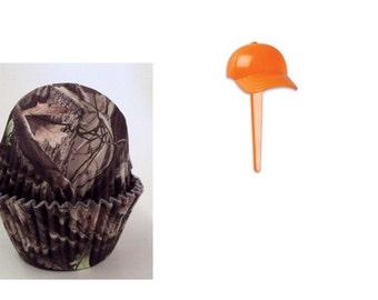 Tree Bark Camo Baking Cups with hunters orange cap picks