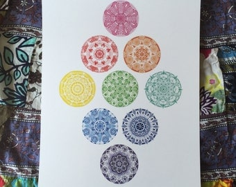 Rainbow Mandala Collage
