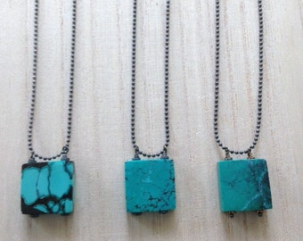 Turquoise square pendant necklace
