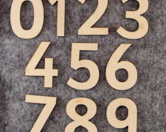 Wooden Number Set Sassoon Font