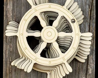 10 Wooden Ships Wheel Craft Shapes 3mm Plywood