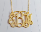 "Personalized Monogram Necklace,3 Initial Monogram Necklace,Gold Monogram Necklace,1.5"" inch Personalized Monogram Necklace,Custom Jewelry"