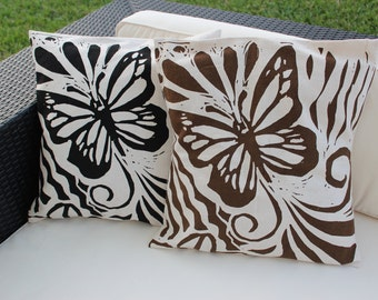 100% Recycled Pillow Cover 20 x 20 Butterfly Design
