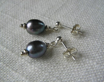 Pearl earrings, pearl drop earrings, pearl dangle earrings, dainty post earrings, sterling silver and pearl, unique handmade fashion dangles