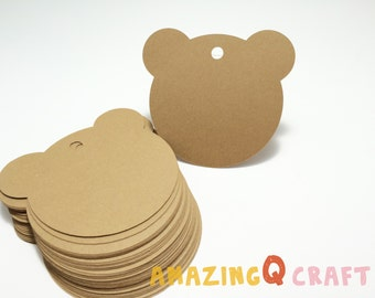 Bear Paper Tags -Brown / White color -Cardstock Paper Tags - Hang Tags - Set of 50