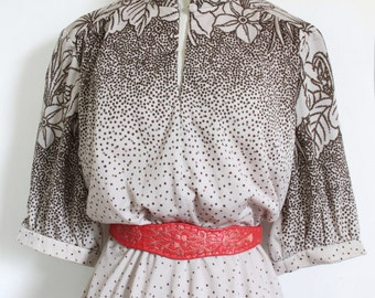 70s dress dotted floral pattern