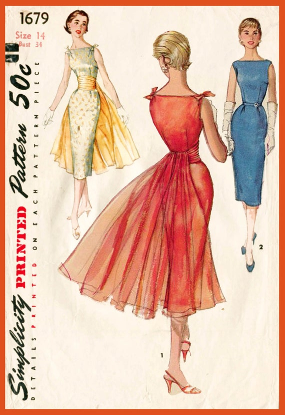 1950s 1960s Vintage Cocktail Wiggle Dress Sewing Pattern Mad