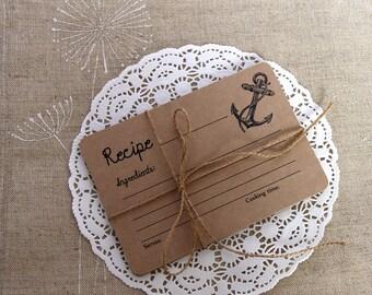 Set of 12 Recipe Cards - Nautical Bridal Shower Gift - Rustic Recipe Cards - 4 x 6 Recipe Cards - Kraft Paper - Wedding Gift - Hostess Gift