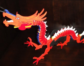 Hand Painted Wooden Dragon Puzzle