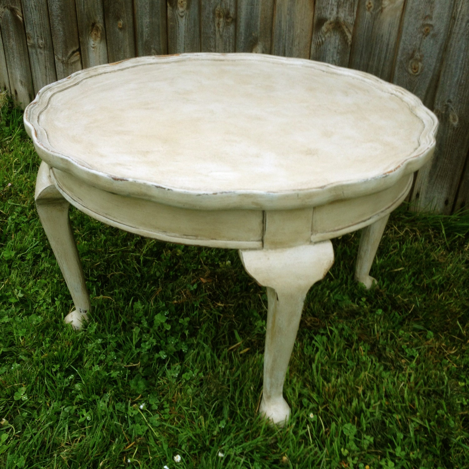 Vintage Grey Round Coffee Table With Pretty Details Hand Painted Hand Made Haute Juice