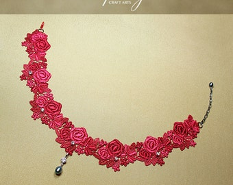 Costume accessory, Victorian Rose Lace Choker, Red Floral Venise Lace Choker, Peacock Pearl pendant, Genuine Pearl pendant,InfinityCraftArts