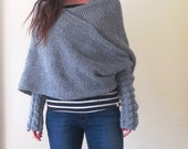 SALE/SALE/SALE!!!/ Was 79.00 now 59.00 pounds only !!!!!/ Hand knitted wrap around top/ One Size / Unique versatile top/Loose knit