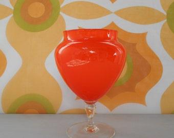 Vintage Orange Case Art Glass Vase or Jar 1960's  #10057