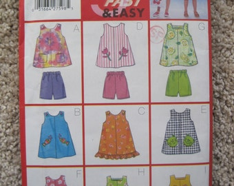 UNCUT Girls Dress, Top and Shorts - Size 6 to 8 - Butterick Sewing Pattern 5562