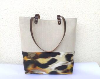 SALE Linen tote bag, Large tote, Organic linen bag,Shoulder bag,Summer bag,Casual handbag, Beach bag, Cool tote bag,  Linen and leather tote
