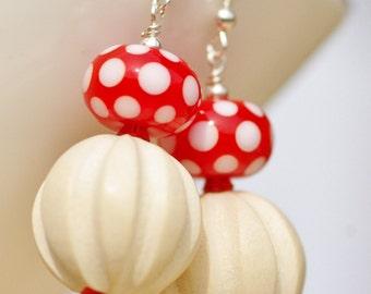Earrings - red and white polka dot summer earrings, lampwork glass beads, sterling silver fly agaric wooden earrings, vegan earrings holiday