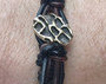 Handmade black & brown genuine leather Spanish Knot bracelet with Old World Bronze button closure