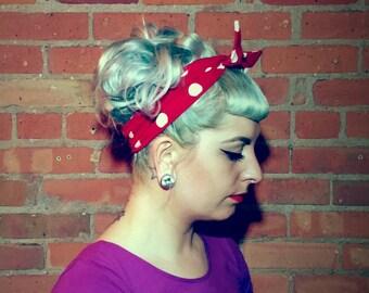 Pinup Headband Red Polka Dot Dolly Bow Head Wrap Rockabilly hairwrap