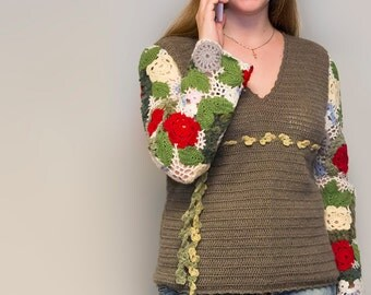 Soft Hand Knit Pullower With Crochet Flowers on Sleeves. 100% Handmade. Irish Lace