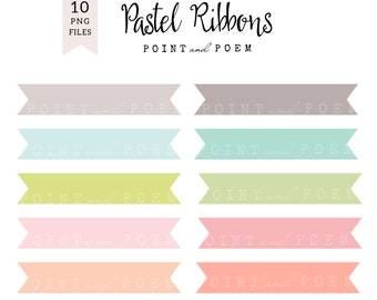 50% OFF SALE Ribbon Clip Art, Rainbow Banner clipart Labels Pastel Ribbons - Commercial Use