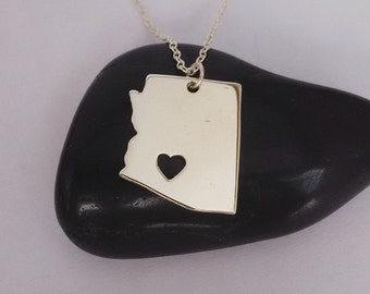 Silver  Arizona State Necklace,AZ State Charm ,AZ State Shaped Pendant,Arizona State Necklace With A Heart
