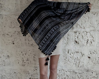 Summer Fashion Scarf In Blueish Grey Black With Pompons, Square Scarf, Tribal Scarf, Spring Scarf, Gifts For Her, Hanamer