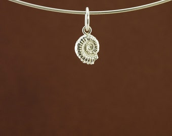 Ammonite fossil pendant or charm in solid 925 sterling silver, inspired by nature