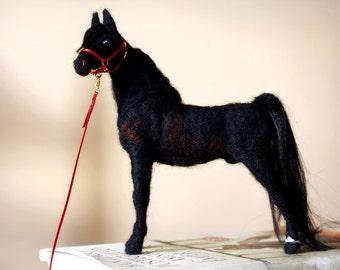 Needle felting horse, Morgan horse sculpture, horse decor, equine art, handmade equestrian decor