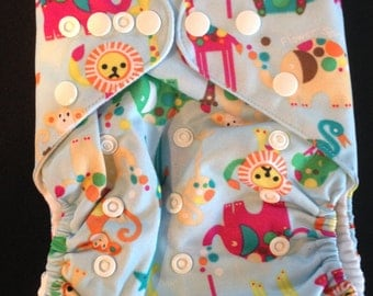 Adjustable Snap Reusable Pocket Cloth Diaper Cover with 2 free inserts Blue Jungle Animals Print