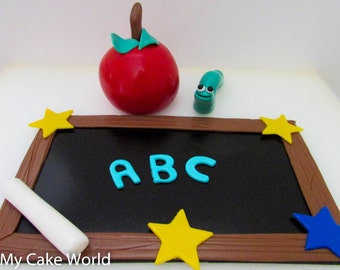 Classroom Teacher Cake Topper, teacher appreciation, teacher gifts teacher cakes, cakes for teachers, chalkboard, teacher apple, back school